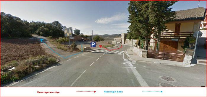 Búnquers a la Foradada - Captura de pantalla de Google Maps, complementada amb anotacions manuals