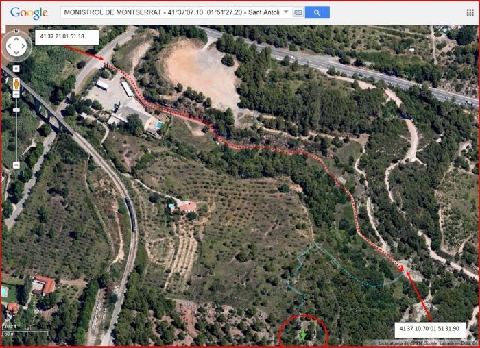 Capella de Sant Antolí – Monistrol de Montserrat - Itinerari - Captura de pantalla de Google Maps, complementada amb anotacions manuals.