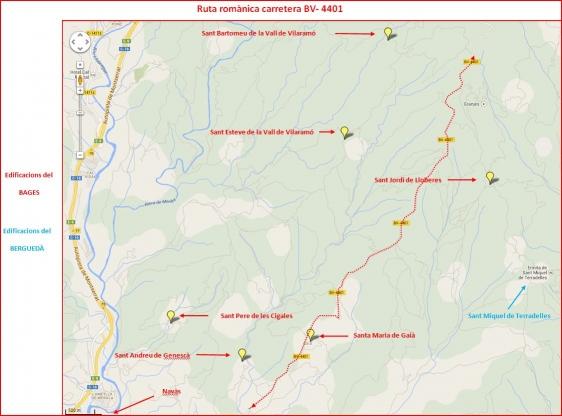 Ruta romànica a través de la carretera BV-4001 - Captura de pantalla de Google Maps, complementada amb anotacions manuals.
