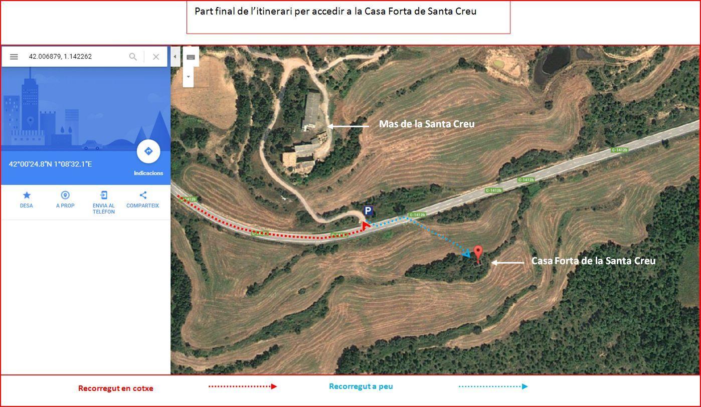 Casa Forta de la Santa Creu – Artesa de Segre - MAPA - Captura de pantalla de Google Maps, complementada amb anotacions manuals