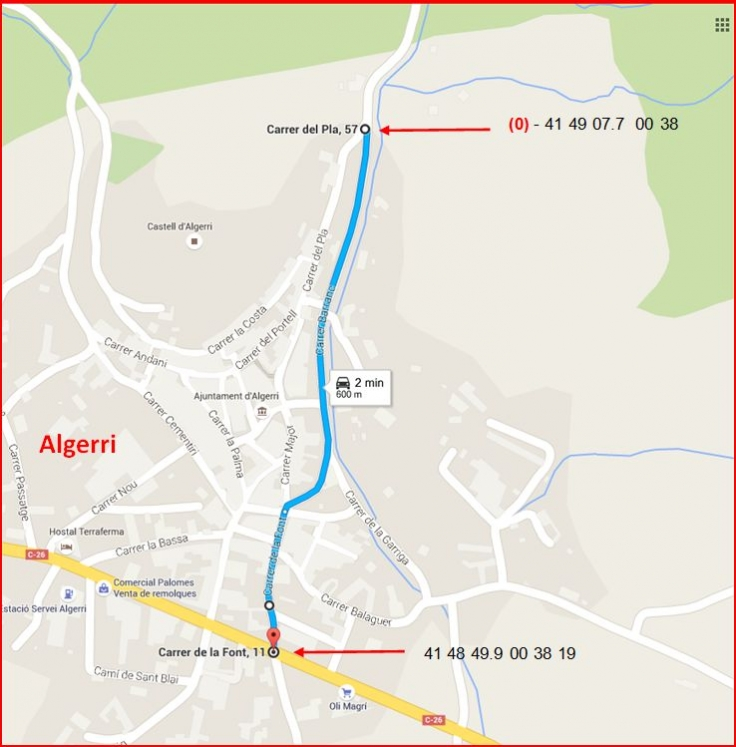 Castell de la Figuera-Google Maps-Itinerari inicial-Captura de pantalla de Google Maps, complementada amb anotacions manuals