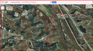 Castell de Montpaó – Ribera d'Ondara - Itinerari - Captura de pantalla d'un mapa de Google Maps, complementada amb anotacions manuals.