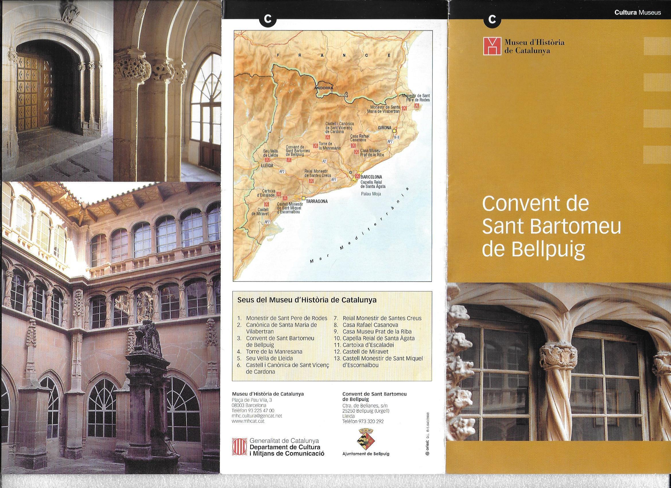 Convent de Sant Bartomeu – Bellpuig - Futlletó que donen amb l\'entrada