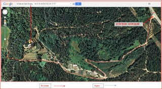 Ermita de Sant Amanç – Anglès - Itinerari - Captura de pantalla de Google Maps, complementada amb anotacions manuals.