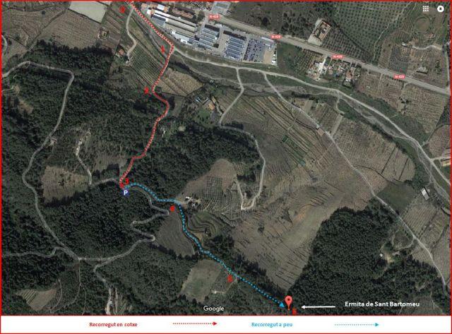 Ermita de Sant Bartomeu-Riudecols-Itinerari-Captura de pantalla de Google Maps, complementada amb anotacions manuals