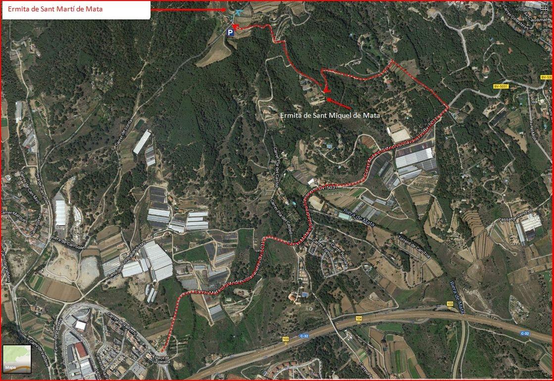 Ermita de Sant Miquel de Mata – Mataró - Itinerari - Captura de pantalla de Google Maps, complementada amb anotacions manuals