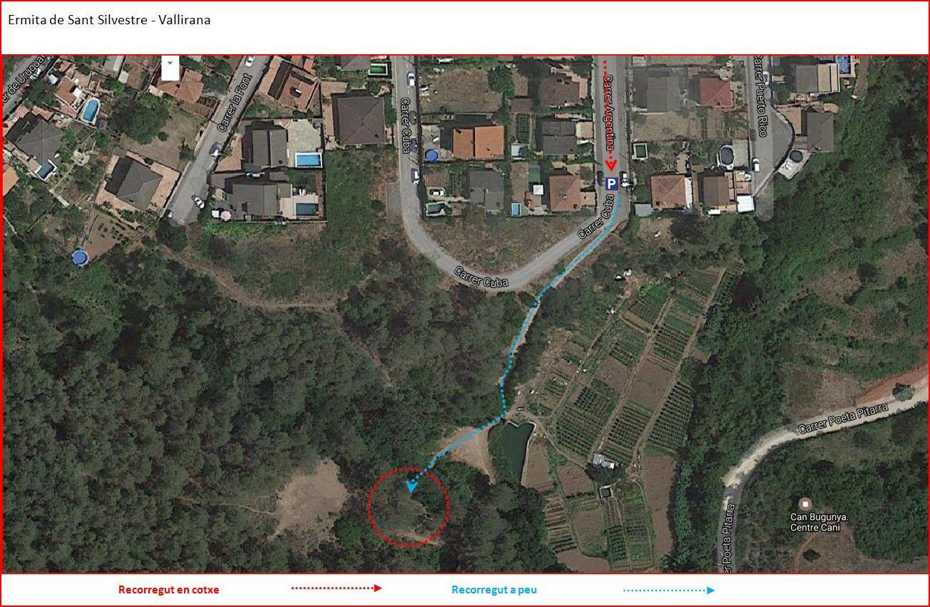 Camí a l\'Ermita de Sant Silvestre – Vallirana - Itinerari - Captura de pantalla de Google Maps, complementada amb anotacions manuals