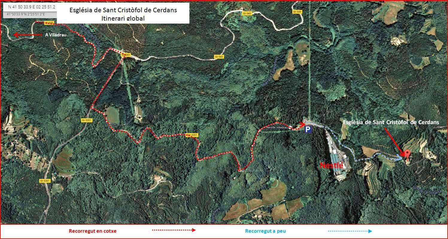 Església de Sant Cristòfol de Cerdans – Arbúcies - Itinerari - MAPA GLOBAL - Captura de pantalla de Google Maps, complementada amb anotacions manuals