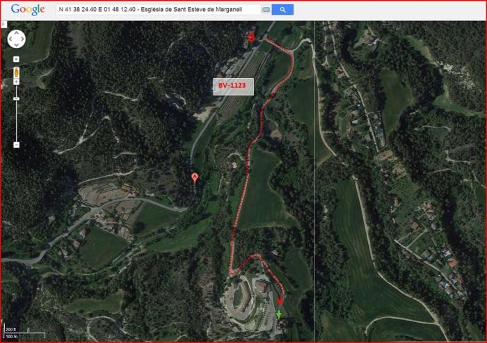 Església de Sant Esteve de Marganell - Itinerari - Captura de pantalla de Google Maps, complementada amb anotacions manuals.