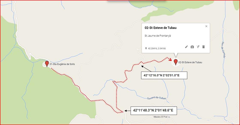 Camí a l'Església de Sant Esteve de Tubau – Sant Jaume de Frontanyà - Itinerari - Captura d epantalla de Google Maps, complementada amb anotacions manuals