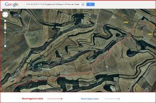 Església de Sant Pere de Tudela - ITINERARI - Captura de pantalla de Google Maps, complementada amb anotacions manuals.