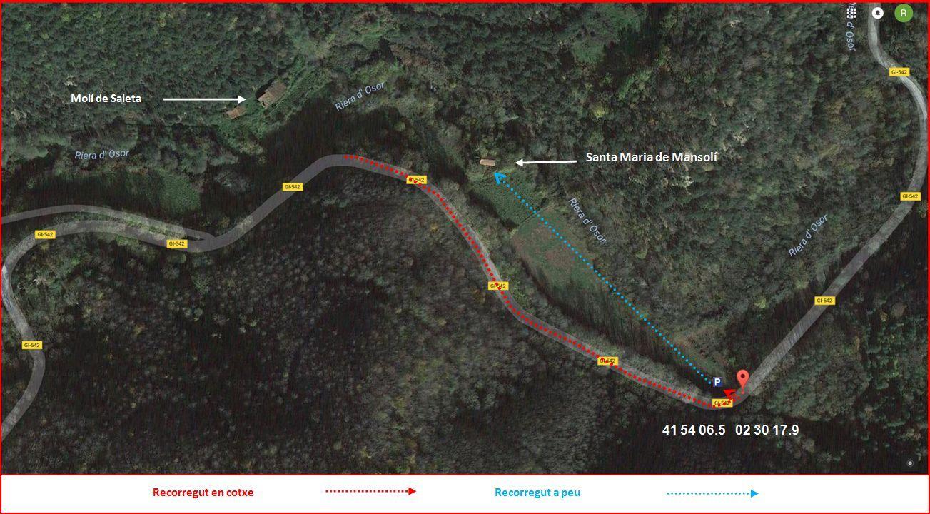 Església de Santa Maria de Mansolí – Sant Hilari Sacalm - Mapa de l\'itinerari - Captura de pantalla de Google Maps, complementada amb anotacions manuals