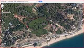 Les Torretes - Calella / Itinerari - Captura de pantalla d'un mapa de Google Maps, complementada amb anotacions manuals.