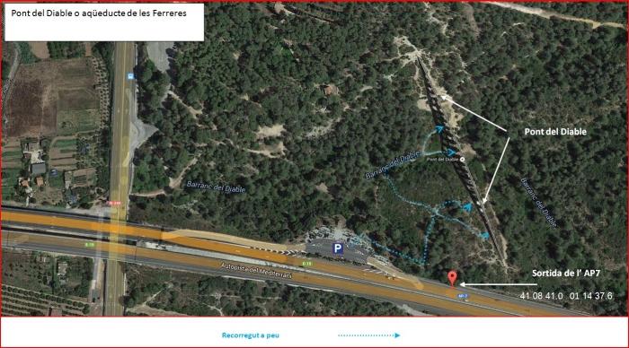 Pont del Diable – Tarragona - Itinerari - Captura de pantalla de Google Maps, complementada amb anotacions manuals.
