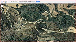 Ermita de Sant Salvador del coll de l'Aguda-Torà / Vista aèria - captura de pantalla de Google Maps.