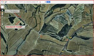 Santa Maria de Tauladells – Torrefeta i Florejacs - Itinerari - Captura de pantalla de Google Maps, complementada amb anotacions manuals.