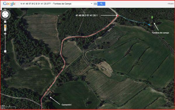 Tombes de Camps - Itinerari - Captura de pantalla de Google Maps, complementada amb anotacions manuals.