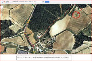 Torre colomer de l'Arboçar – Avinyonet del Penedès - Itinerari - Captura de pantalla de Google Maps, complementada amb anotacions manuals.