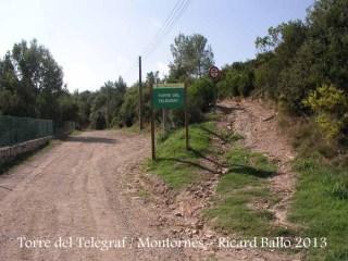 Torre del telègraf de Montornès del Vallès - Inici camí a peu.