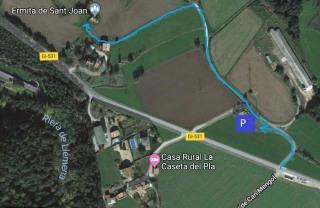 MAPA d'accés a la capella Sant Joan-Sant Martí de Llèmena
