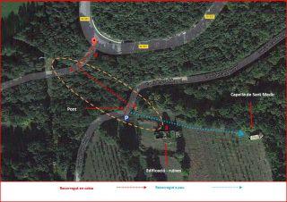 Camí a la Capella de Sant Medir-Sant Martí de Llémena - Captura de pantalla de Google Maps, complementada amb anotacions manuals