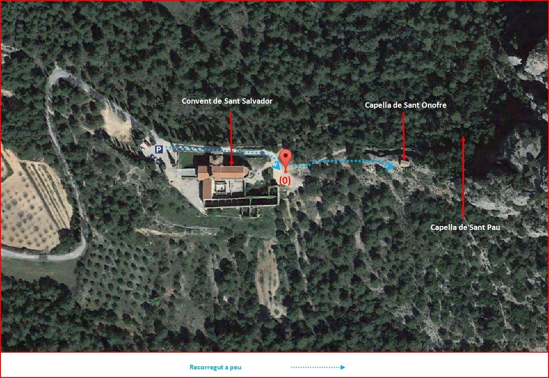 Capella de Sant Onofre – Horta de Sant Joan - Itinerari - Detall part final - Captura de pantalla de Google Maps, complementada amb anotacions mamnuals