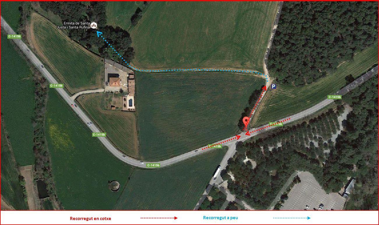 Capella de Santa Justa i Santa Rufina-Lliçà d'Amunt-Detall part final de l'itinerari-Captura de pantalla de Google Maps, complementada amb anotacions manuals