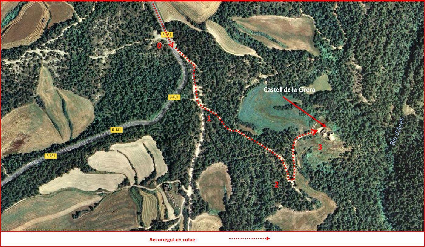 Castell de la Cirera – Sant Feliu Sasserra - Itinerari - Captura de pantalla de Google Maps, complementada amb anotacions manuals
