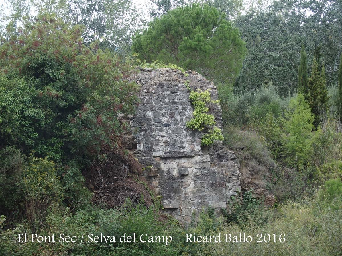 El Pont Sec – Selva del Camp - Vista de les suposades restes d'una edificació sarraïna