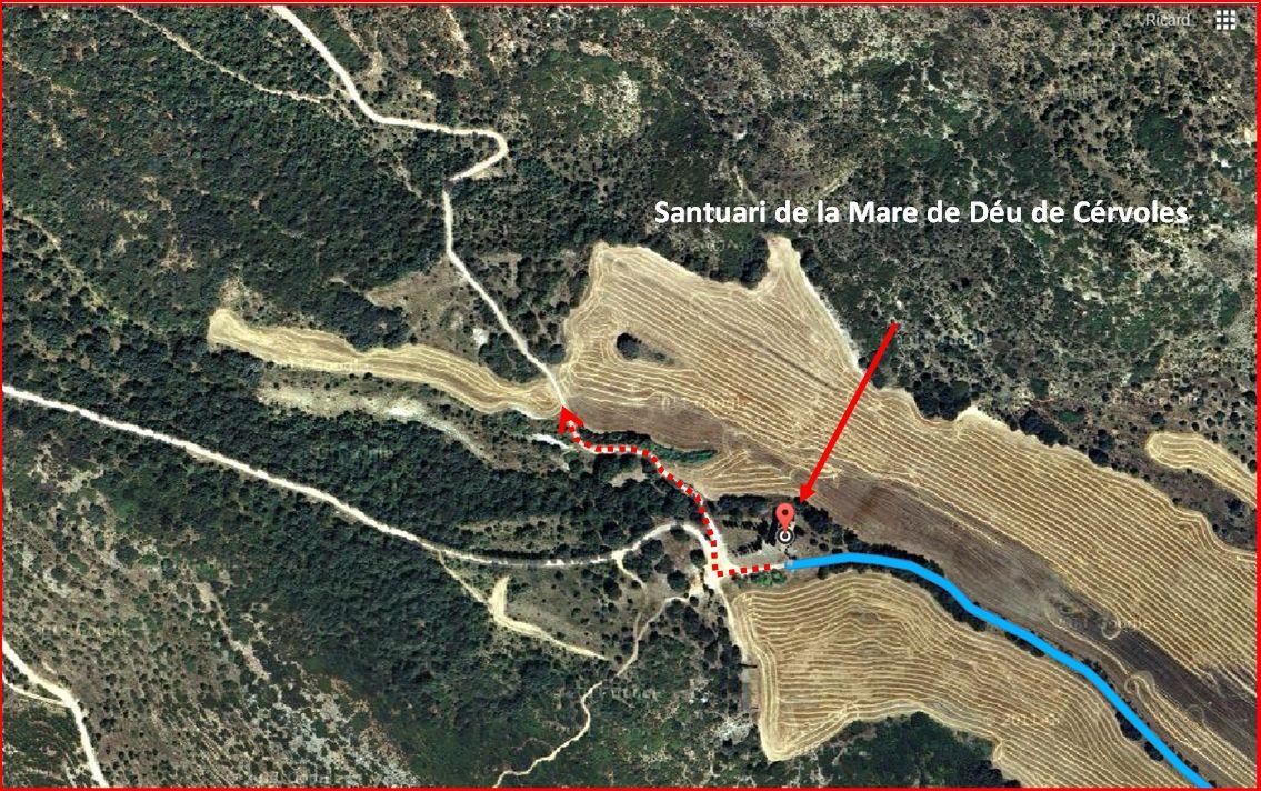 Ermita de Sant Salvador – Os de Balaguer - Itinerari - Detall part inicial del tram de camí des del Santuari de la Mare de Déu de Cérvoles - Captura de pantalla de Google Maps, complementada amb anotacions manuals