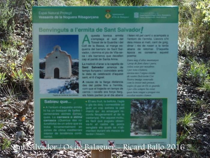 Ermita de Sant Salvador – Os de Balaguer - Plafó informatiu situat al davant de l\'ermita