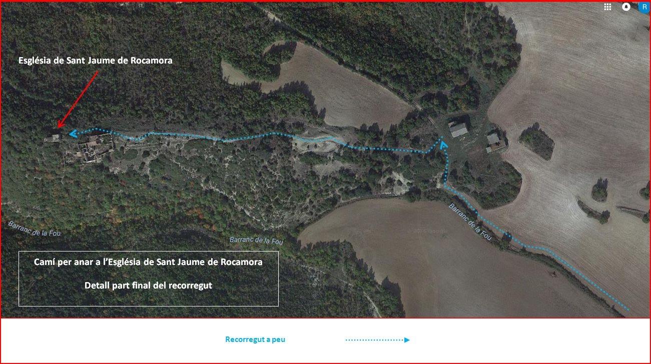 Camí a l'Església de Sant Jaume de Rocamora – Pontils - Captura de pantalla de Google Maps, complementada amb anotacions manuals.