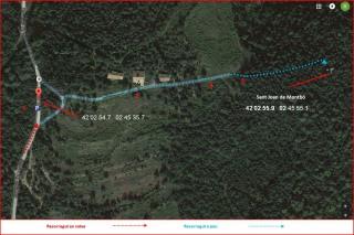 MAPA del camí d'accés a l'Església de Sant Joan de Montbó – Canet d'Adri - Captura de pantalla de Google Maps, complementada amb anotacions manuals