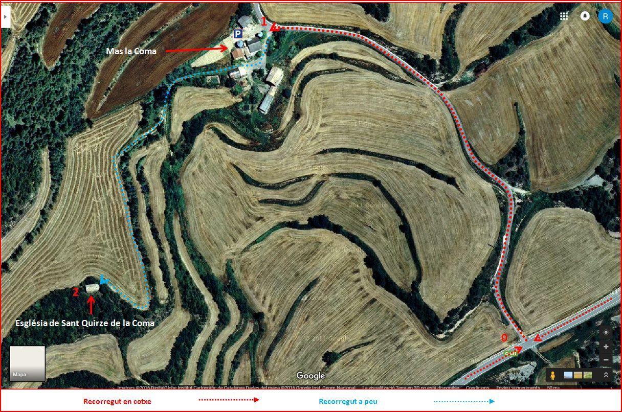 Església de Sant Quirze de la Coma - Llobera-Itinerari-Captura de pantalla de Google Maps, complementada amb anotacions manuals.