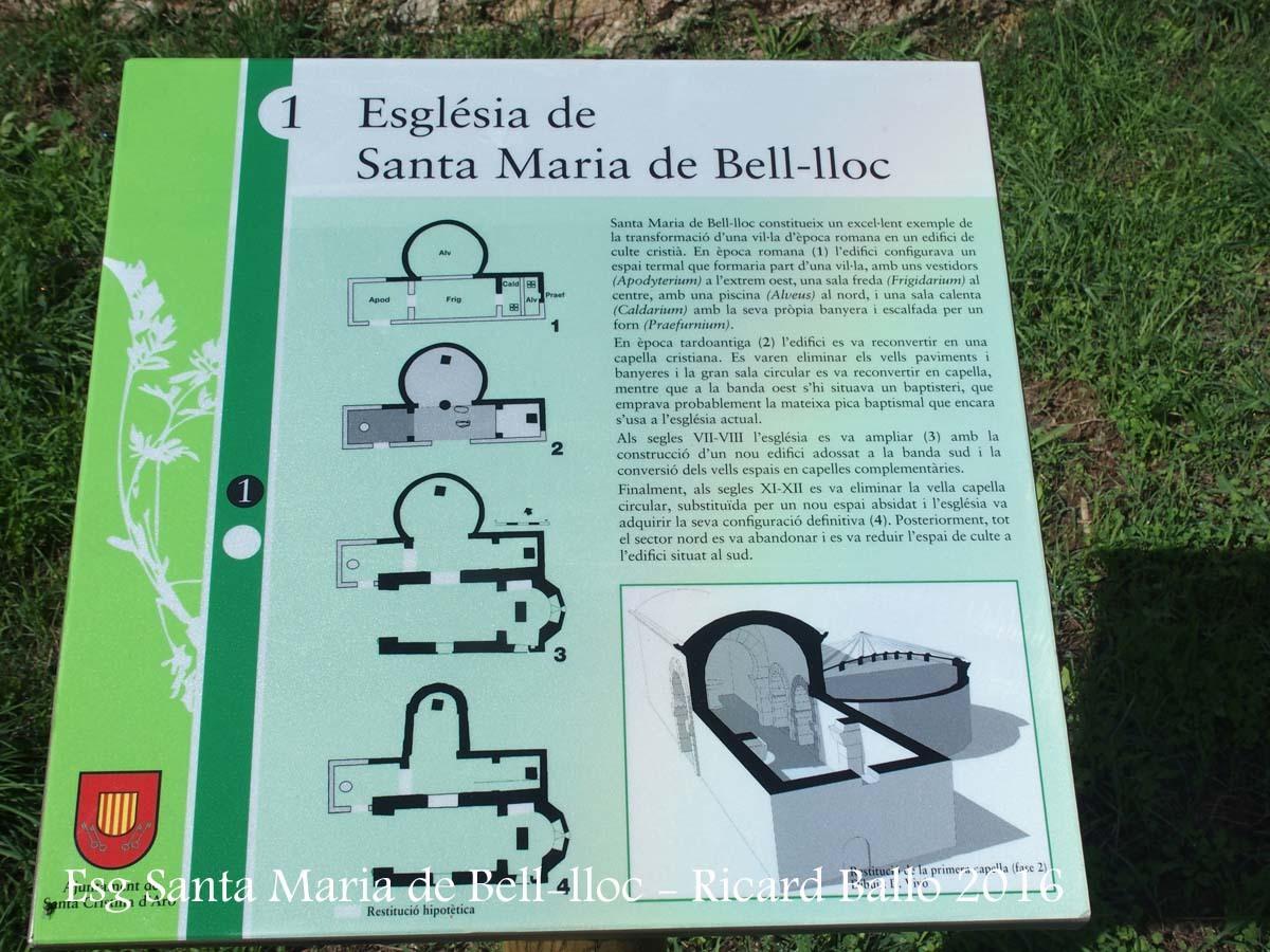 Església de Santa Maria de Bell-lloc – Santa Cristina d'Aro - Plafó informatiu situat al davant de l'edificació