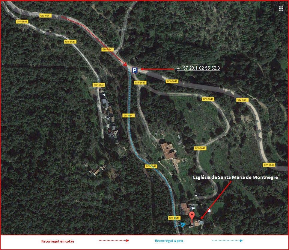 Església de Santa Maria de Montnegre – Quart - Itinerari - Part final - Captura de pantalla de Google Maps, complementada amb anotacions manuals. A destacar la quantitat de ramals de la mateixa carretera, la GIV-6641, que hi apareixen