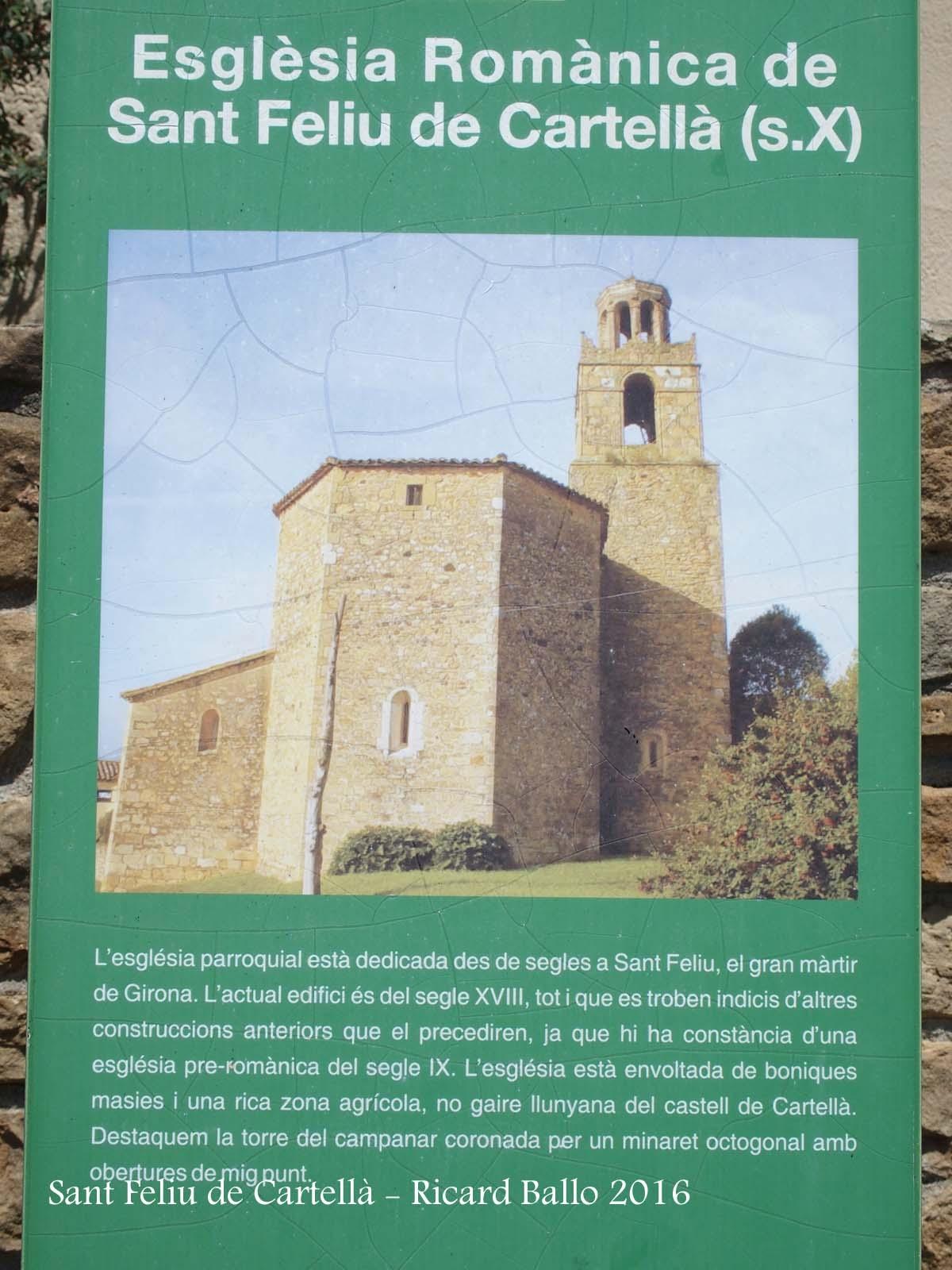 Cartell informatiu situat al davant de l'Església parroquial de Sant Feliu de Cartellà–Sant Gregori