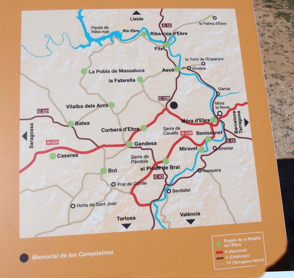 Les Camposines – La Fatarella - Informació que figura als plafons informatius que hi ha en aquest lloc