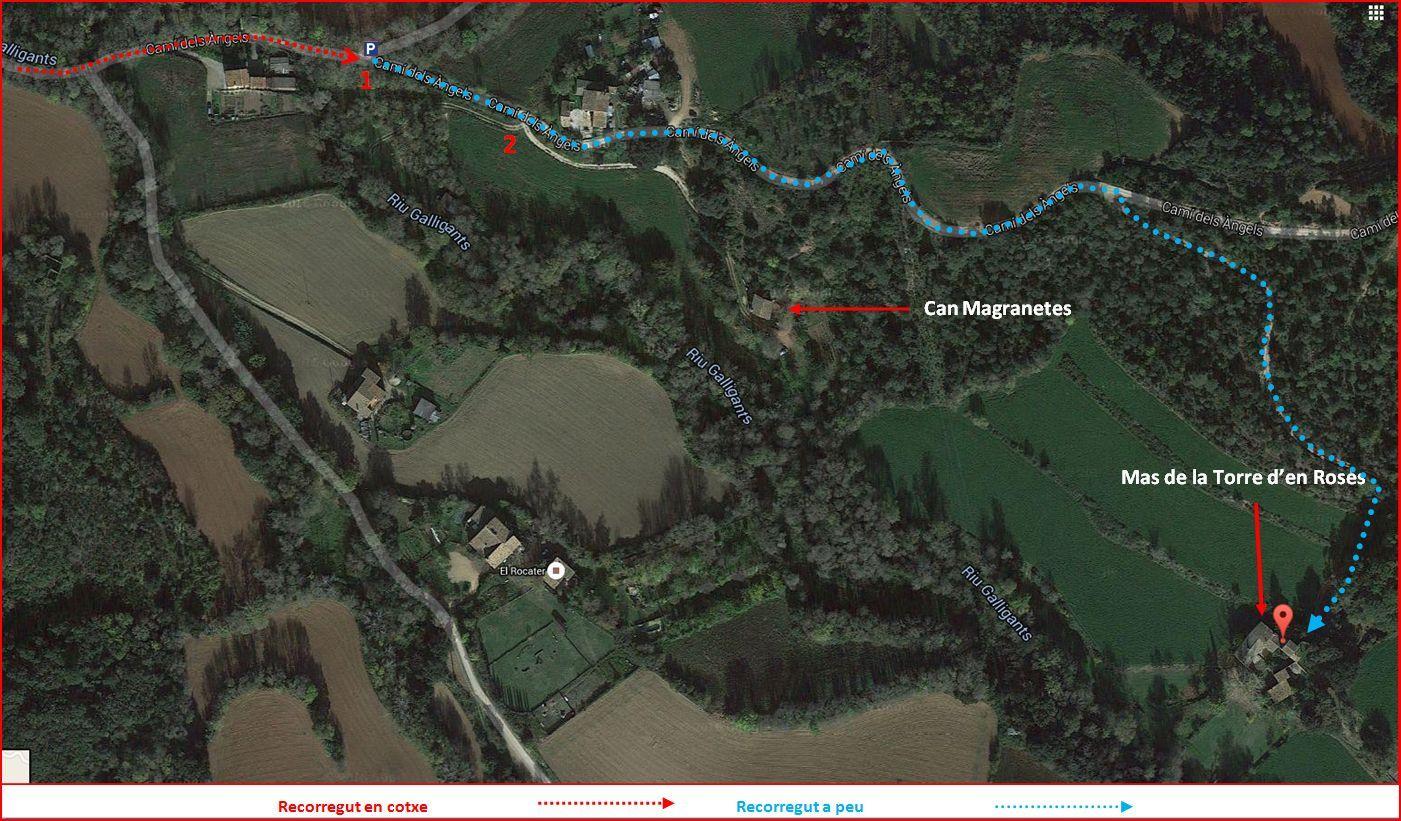 Mas de la Torre d'en Rosés – Girona - Itinerari alternatiu - Captura de pantalla de Google Maps, complementada amb anotacions manuals