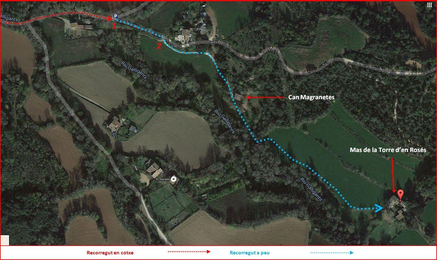Mas de la Torre d'en Rosés – Girona - Itinerari - Captura de pantalla de Google Maps, complementada amb anotacions manuals