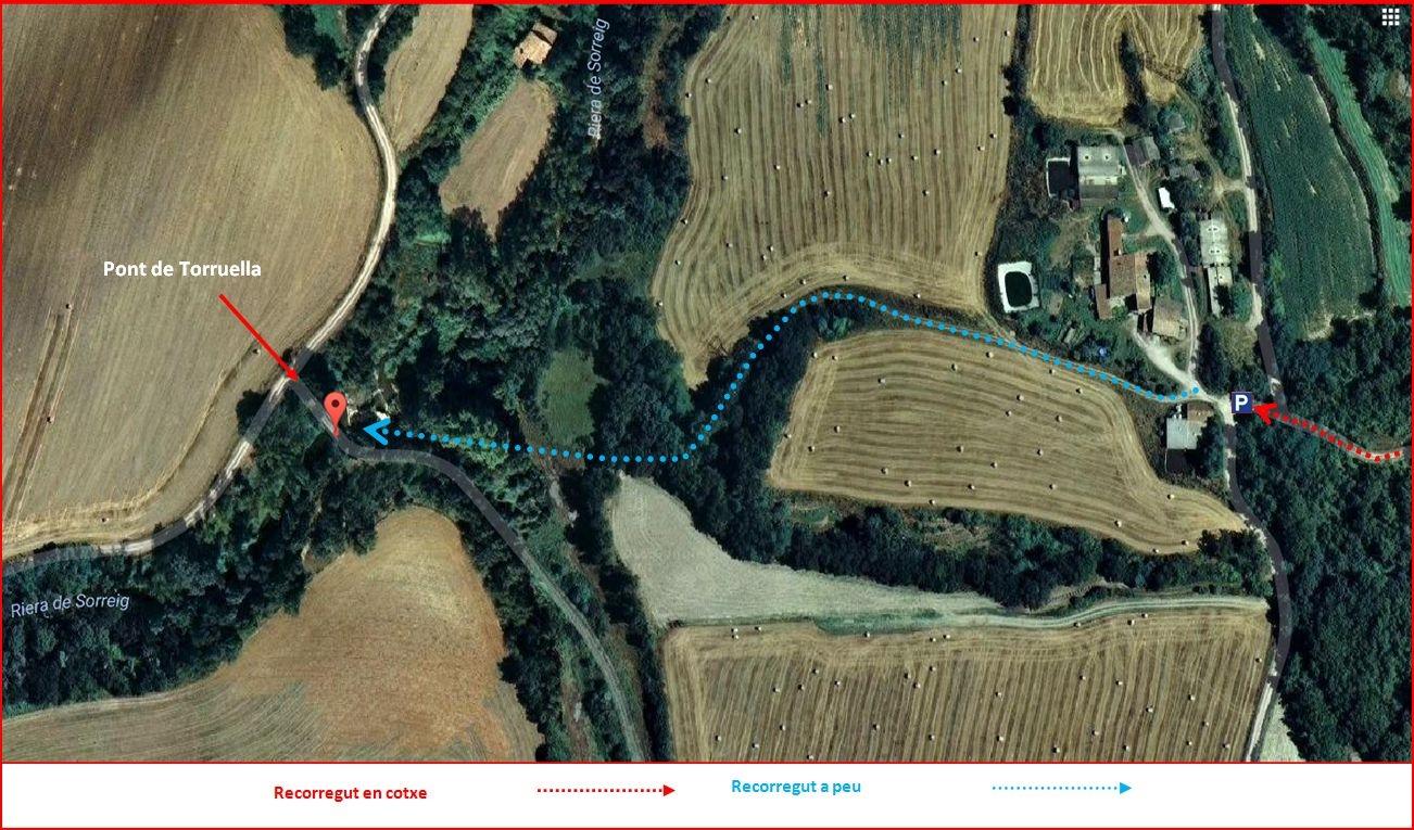 Pont de Torruella – Gurb - Darrera part del camí. Captura de pantalla de Google Maps, complementada amb anotacions manuals