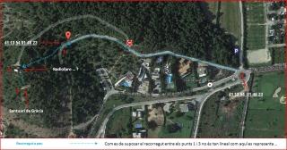 Itinerari per arribar al Santuari de Gràcia. Captura de pantalla de Google Maps, complementada amb anotacions manuals
