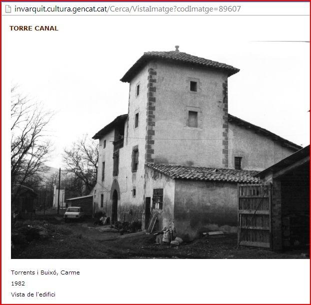 Torre Canal – Gurb - Captura de pantalla d'una pàgina web de Patrimoni.Gencat