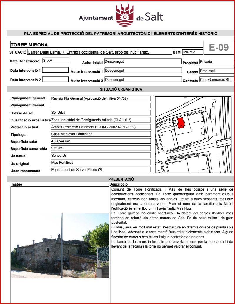 Torre Mirona - Salt-Informació facilitada per l'Ajuntament de Salt