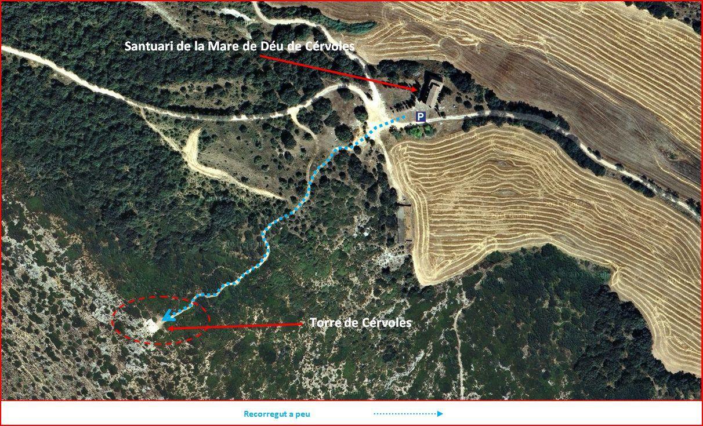 Torre de Cérvoles 160429 - Part final del camí - Captura de pantalla de Google Maps, complementada amb anotacions manuals.