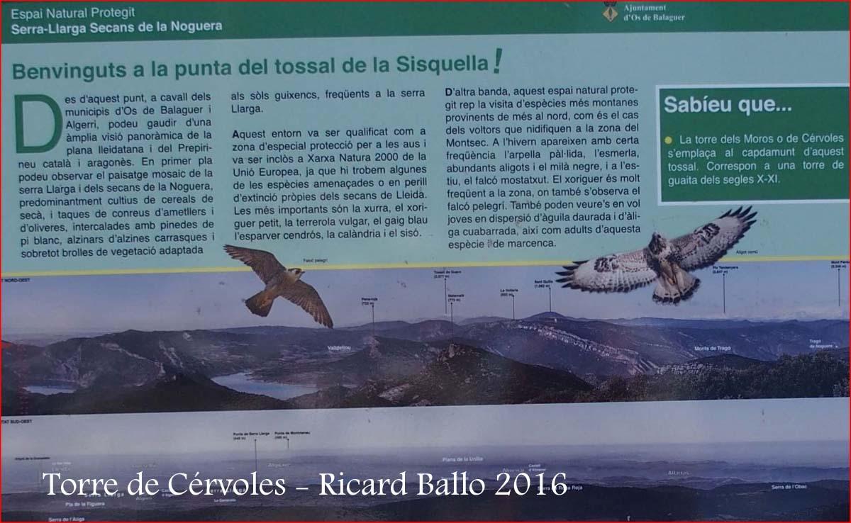 Torre de Cérvoles – Os de Balaguer - Plafó informatiu situat al davant de la torre - Visió ampliada de la informació