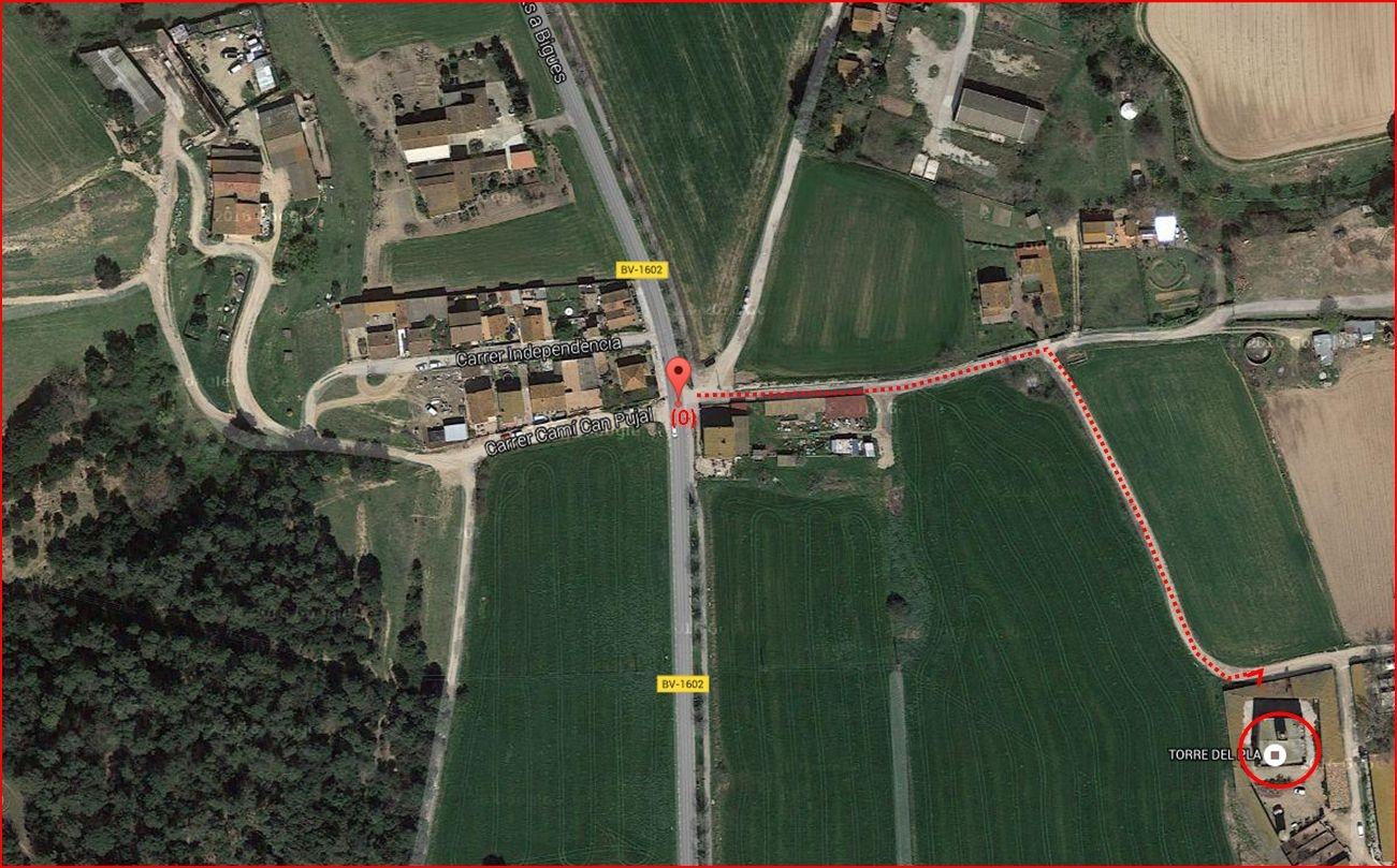 Torre del Pla – Lliçà d'Amunt - Itinerari - Captura de pantalla de Google Maps, complementada amb anotacions manuals