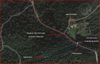 Torre del Telègraf – Bescanó - Captura de pantalla de Google Maps, complementada amb anotacions manuals