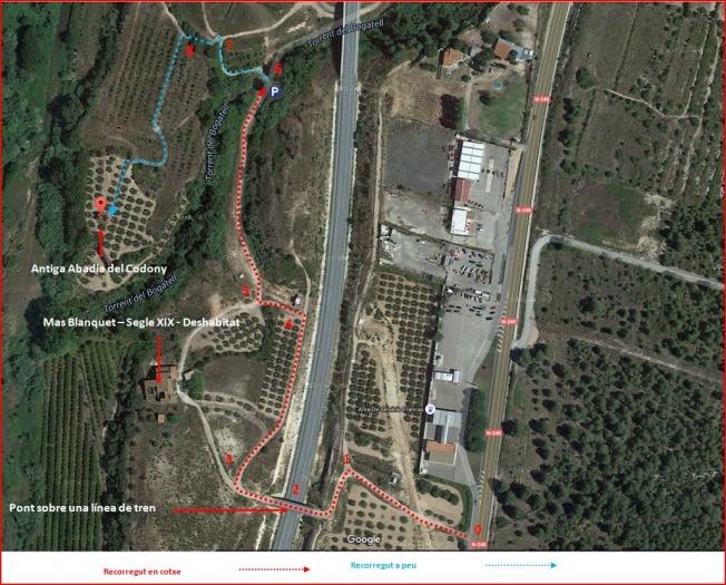 Antiga Abadia del Codony-Perafort-Itinerari-Captura de pantalla de Google Maps, complementada amb anotacions manuals