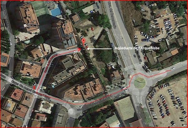 Aqüeducte de l'Arquebisbe – Tarragona - Captura de pantalla de Google Maps, complementada amb anotacions manuals
